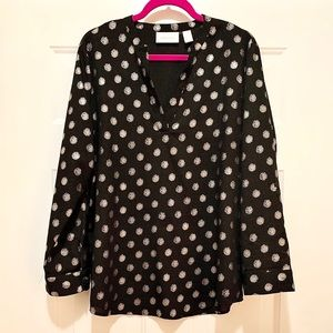 Chicos   Black Blouse with Gold, Glitter Polka Dot